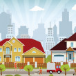 Vector illustration of colorful city (people, cars...