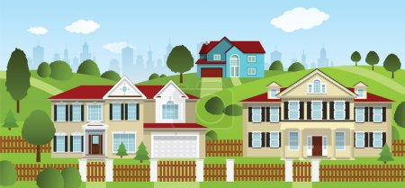 Illustration for Vector illustration of small village landscape, city in background - Royalty Free Image