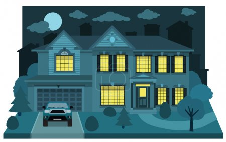 Illustration for Vector illustration of city in perspective (night) - Royalty Free Image