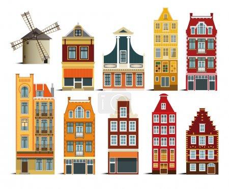 Illustration pour Illustration vectorielle de simple collection de maisons hollandaises - image libre de droit