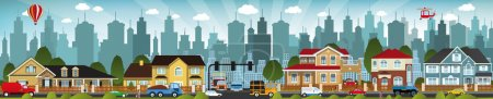 Illustration for Vector illustration of city life (people, cars, buildings) - Royalty Free Image