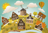 Vector illustration of holland countryside (classic houses in the nature)