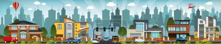 Photo for Vector illustration of city street (buildings, cars, people) - Royalty Free Image
