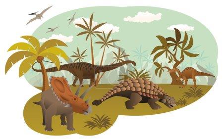 Illustration for Vector illustration of world of dinosaurs (extinct animals) - Royalty Free Image