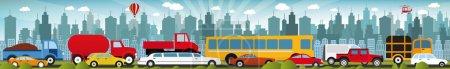 Illustration pour Vector illustration of fraffic jam in the city ( car behind each other) - image libre de droit