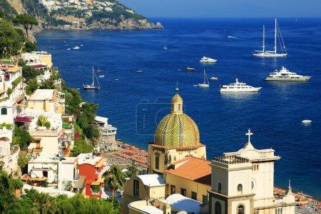 Boats in the sea. Positano on the Amalfi Coast, Italy, Europe