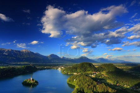 View of St. Mary Church of the Assumptionon, Bled Lake, Slovenia