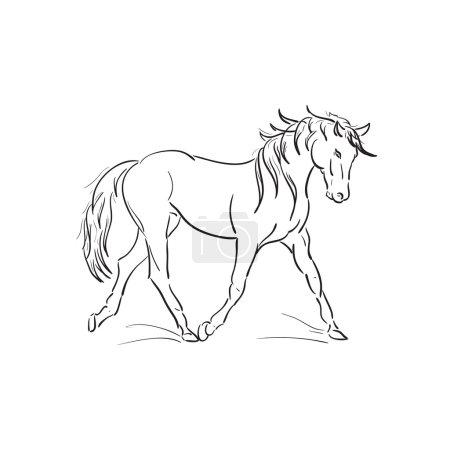 Running horse vector outline