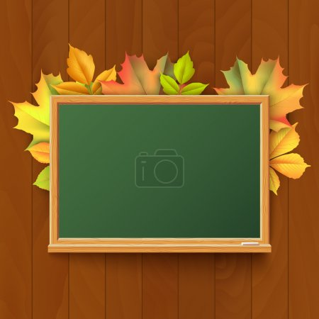 Green blackboard in a wooden frame with chalk on t...