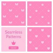 Set of cute pink girlish seamless patterns Background with hearts crowns bows
