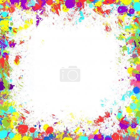 Seamless background with color ink spots, frame for text of phot