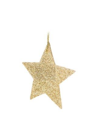 Photo pour Étoile dorée brillante de Noël isolée sur fond blanc . - image libre de droit