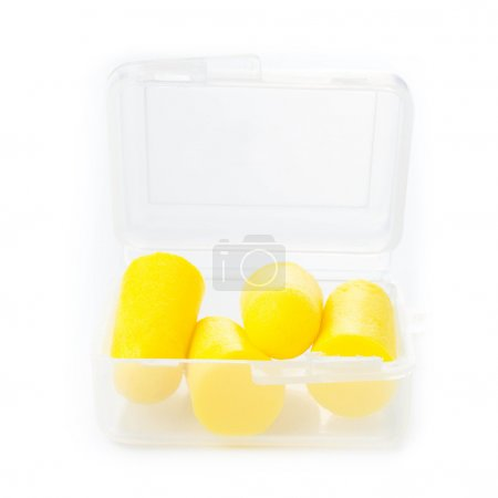 Earplugs in a box for careful storage.