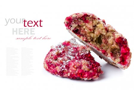 Granola cookie with oatmeal and raspberries.