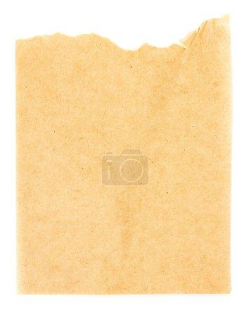 Photo pour Texture ou fond de feuille de papier jaune recyclé avec bord déchiré. Texture vieux papier artisanal . - image libre de droit