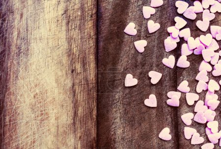 Photo for Valentines Day Love concept. Sugar Hearts on wooden vintage textured background or table. - Royalty Free Image