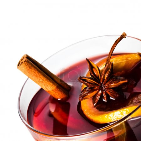 Hot red mulled wine for Christmas