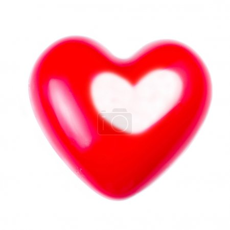 Photo for Valentines Day card with Big Red Heart isolated on white background, close up. Love Love Beautiful concept - Royalty Free Image
