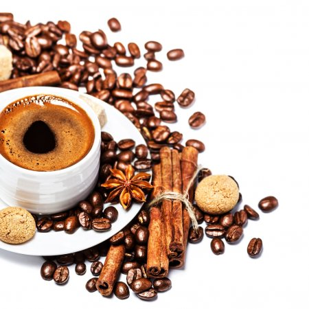 Coffee cup with coffee beans and biscotti isolated...