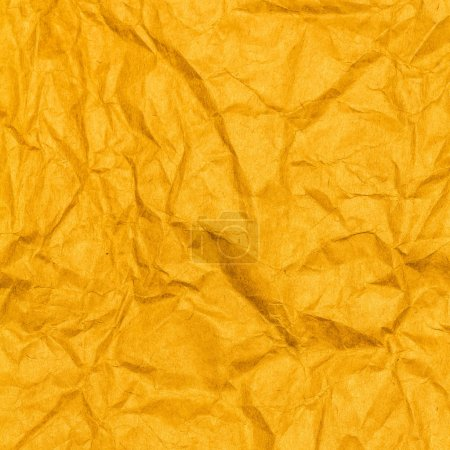 Photo for Crumpled recycled paper background texture yellow color.  Paper for package. - Royalty Free Image