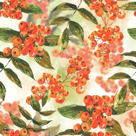 Watercolor seamless background with ash-berry
