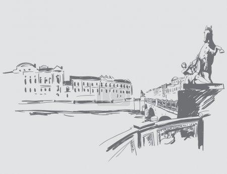 Illustration pour Les villes du monde. Croquis de Saint-Pétersbourg - image libre de droit