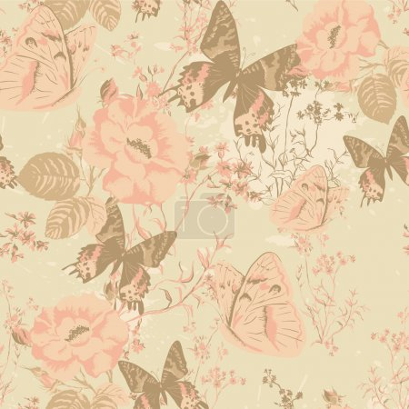 Illustration for Floral seamless pattern, endless texture with flowers. Vector background for textile design. Vector ornament with butterflies and roses in vintage style. Wallpaper, background - Royalty Free Image