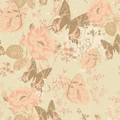 Floral seamless pattern with butterflies and roses in vintage style