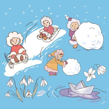 Illustration pour Collection d'illustrations vectorielles d'enfants jouant. Les enfants sculptent un bonhomme de neige. Les enfants montent sur un traîneau. Papier Bateau snowdrops . - image libre de droit
