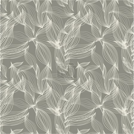 Illustration for Floral seamless pattern, background for textile design in vintage style. Wallpaper, background. A seamless leaf pattern. - Royalty Free Image