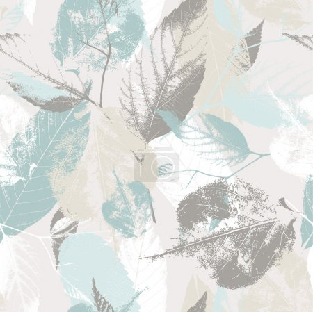Illustration for Abstract seamless pattern with leaves and flowers Background with flowers grunge texture - Royalty Free Image