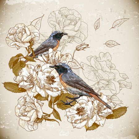 Illustration for Vintage floral background with birds - Royalty Free Image