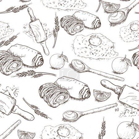 Illustration pour Fond de boulangerie sans couture - image libre de droit