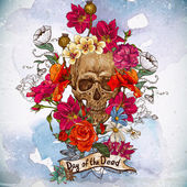 Cranio e fiori il giorno dei morti