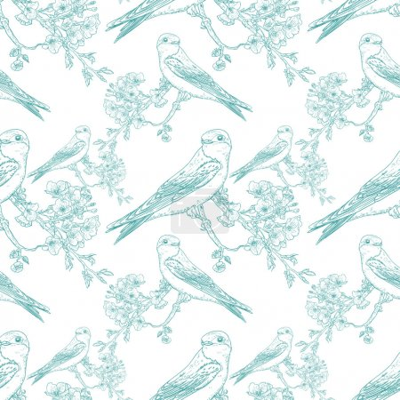Illustration for Seamless spring cherry pattern with birds - Royalty Free Image