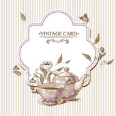 Invitation Vintage Card with a Cup of Tea or Coffee Pot Flowers and Butterfly
