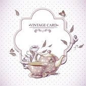Invitation Vintage Card with Cup Pot and Flowers