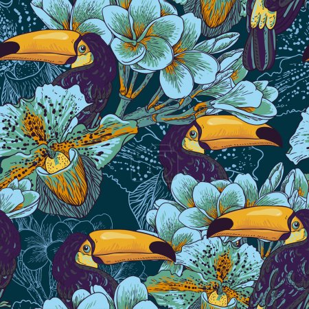 Tropical seamless parrern with flowers and Toucan