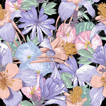 Illustration for Summer seamless pattern with wildflowers. Beautiful floral bouquet. - Royalty Free Image