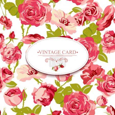 Illustration for Vintage Floral Card with Roses Vector Design Element. Roses background, invitation - Royalty Free Image