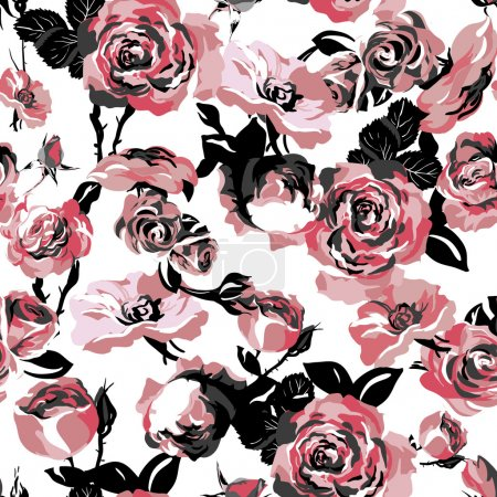 Illustration for Monochrome Seamless Pattern with Vintage Roses,  background for wedding, birthday or invitation design - Royalty Free Image
