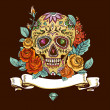 Skull and Flowers Day of The Dead, Vintage Card, V...