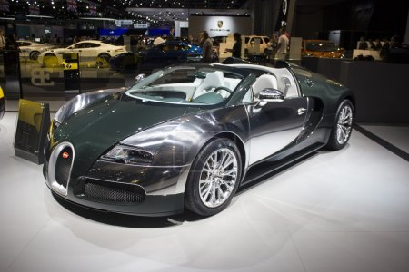 Dubai, UAE - NOVEMBER-14-2011: Bugatti green side ...