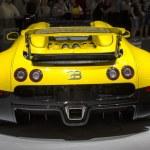 Dubai, UAE - NOVEMBER-14-2011: Bugatti yelow on di...