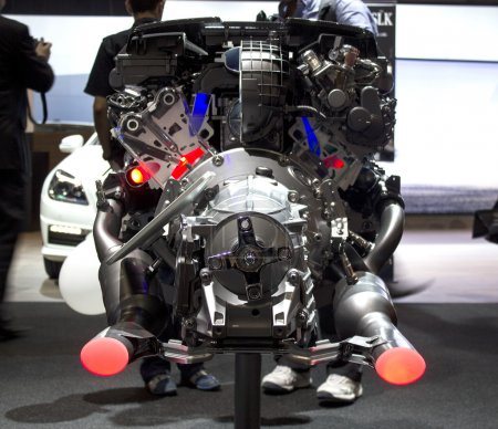 Mercedes Benz AMG car engine back view