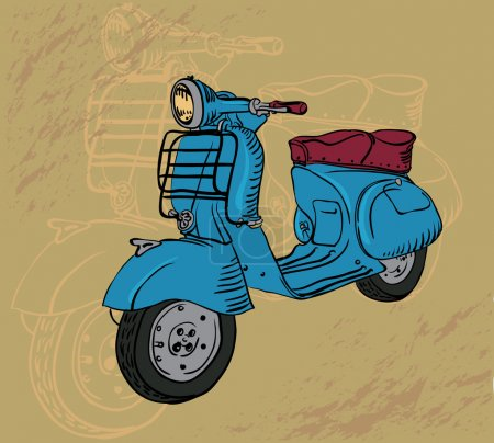 Illustration for Vector drawing retro motorbike - Royalty Free Image
