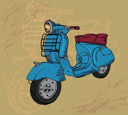 Illustration pour Dessin vectoriel moto rétro - image libre de droit
