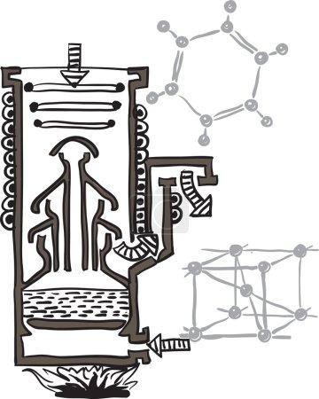 Ilustración de Esquema de la bomba de vacío de mercurio de dibujo vectorial - Imagen libre de derechos