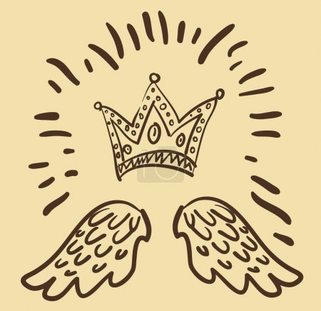 Vector illustration of royal crown and two angel wings
