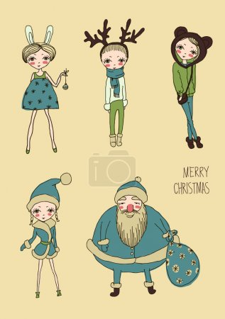 Illustration for Set of teenage christmas girls - Royalty Free Image